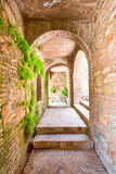 Alhambra Fortress Corridor. Alhambra Corridor In Spain With Typical Moorish Arches Royalty Free Stock Image