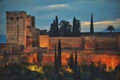 Alhambra från Albayzin Arkivfoton
