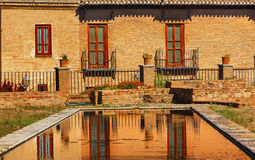 Alhambra Garden Pool Reflection Abstract Granada Andalusia Spain. Alhambra Old Building Garden Pool Reflection Abstract Granada Andalusia Spain stock photos
