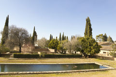 Alhambra gardens. The complex of the Alhambra, the gardens outside the palaces. Granada, Spain royalty free stock images