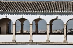 Alhambra and Generilife Palace in Granada. Arcs of white building in the Generalife palace Stock Photo