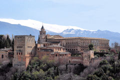 The Alhambra in Granada, Andalusië, Spain. The Alhambra of Granada in Spain. Photo made from the highest point in the Albayzin, the moorish district of stock photography