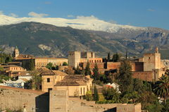 Alhambra in Granada. The view of palace Alhambra from Albayzin quarter in Granada, Spain royalty free stock photos