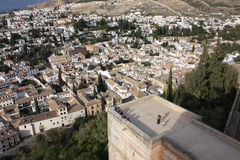 Alhambra in Granada. The Alhambra and the old town of Granada from above stock photos