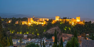 The Alhambra in Granada from Albaicin at night Stock Image