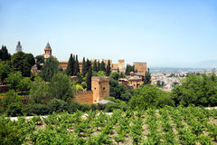 Alhambra of Granada. Ancient arabic fortress of Alhambra, Granada, Spain Royalty Free Stock Photos