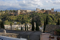 Alhambra in Granada, Andalusia, Spain. Panoramic view of Alhambra in Granada, Andalusia, Spain Royalty Free Stock Images