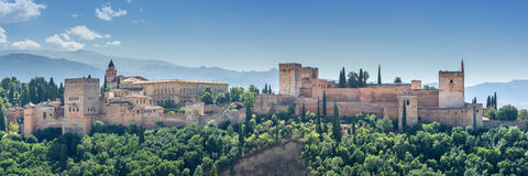 Alhambra in Granada, Andalusia. View of the world famous Alhambra with its Arab palaces and walls in southern Spain stock photos