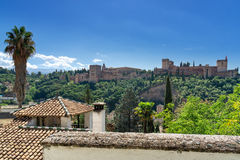 Alhambra in Granada, Andalusia. View of the world famous Alhambra with its Arab palaces and walls in southern Spain royalty free stock images