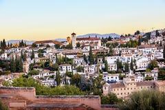 Alhambra Granada Cityscape Churches Andalusia Spanien Arkivfoton
