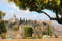 Alhambra Granada from the Generalife garden Royalty Free Stock Images