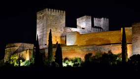 The Alhambra of Granada, night royalty free stock photography