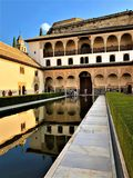 Alhambra in Granada, palace, garden and water royalty free stock photo