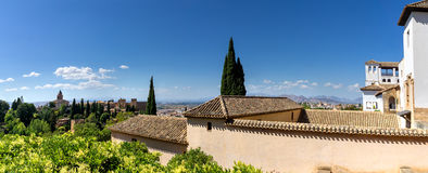 Alhambra in Granada. Panoramic view from the Alhambra over the city of Granada and the Arabian quarter Albaicin royalty free stock images