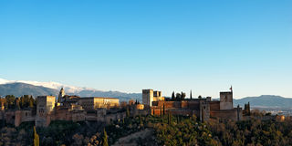 Alhambra of Granada in the setting sun. Minor HDR treatment Royalty Free Stock Images