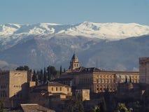Alhambra of Granada. The Alhambra of Granada and Sierra Nevada Stock Images