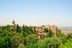 Alhambra of Granada, Spain. The Alhambra, ancient muslim fortress in Spain Stock Photography
