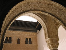 The Alhambra, Granada, Spain. Detail on the arch stock images