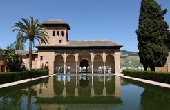 Alhambra Granada Spain. Reflection at the Partal. A section of the Alhambra Palace, Granada, Spain royalty free stock photography