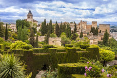 Alhambra in Granada, Spain. Lush gardens of Alhambra, Granada, Spain Royalty Free Stock Photo