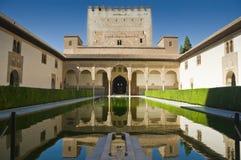 Alhambra in Granada, Spain. Palacios Nazaries, a part of the Alhambra in Granada, Spain. Reflection in water Stock Photo
