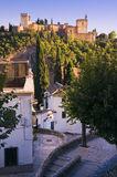 The Alhambra in Granada, Spain. Seen from Albaicin Royalty Free Stock Photos