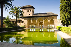 Alhambra in Granada, Spain. A part of the Alhambra palace (the Gardens of the Partal and the Tower of the Ladies)in Granada, Spain. Palm trees, columns stock photos