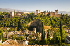Alhambra in Granada, Spain. A general view of Alhambra seen from Albaicin in Granada, Spain Royalty Free Stock Photos