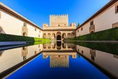 Alhambra of Granada, Spain. Courtyard of the Myrtles (Patio de los Arrayanes Stock Photos