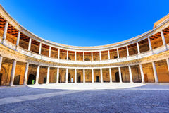 Alhambra of Granada, Spain. Courtyard of the Palace of Charles V stock photos