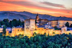 Alhambra of Granada, Spain. Alhambra fortress at sunset stock photo