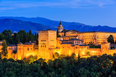 Alhambra of Granada, Spain. Alhambra fortress at twilight royalty free stock images