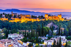 Alhambra of Granada, Spain. Alhambra fortress at twilight stock photos