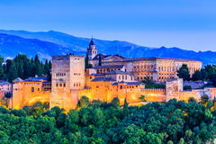 Alhambra, Granada, Spain. Alhambra of Granada, Spain. Alhambra fortress at twilight Stock Photos
