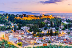 Alhambra of Granada, Spain. Alhambra fortress at twilight stock images