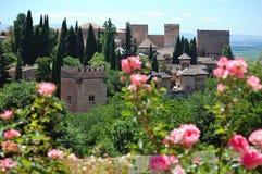 Alhambra in Granada, Spain. Lush gardens of Alhambra, Granada, Spain royalty free stock image