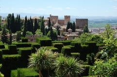 Alhambra in Granada, Spain. Lush gardens of Alhambra, Granada, Spain stock photography