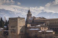 Alhambra in Granada, Spain. Alhambra, moorish castle in Granada, Spain whith snow of Sierra Nevada behind stock photos
