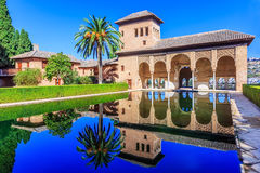 Alhambra, Granada, Spain. The Nasrid Palaces Palacios Nazaríes in the Alhambra fortress royalty free stock image