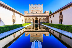 Alhambra, Granada, Spain. The Nasrid Palaces Palacios Nazaríes in the Alhambra fortress royalty free stock photo