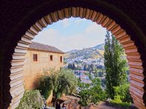 Alhambra in Granada, Spain. Palacios Nazaries in Alhambra in Granada, Andalusia, Spain Stock Photography