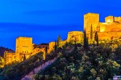 Alhambra, Granada, Spain. Panoramic night view of Alhambra, Granada, Spain royalty free stock image