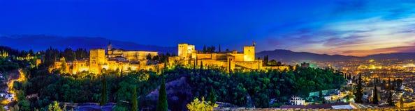 Alhambra, Granada, Spain. Panoramic night view of Alhambra, Granada, Spain stock photo