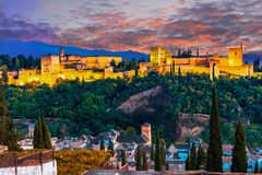 Alhambra, Granada, Spain: Panoramic night-view of the Alhambra royalty free stock images