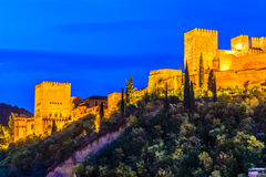 Alhambra, Granada, Spain. Panoramic night view of Alhambra, Granada, Spain Royalty Free Stock Image