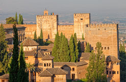 Alhambra, Granada, Spain. View of Spain's main tourist attraction: ancient arabic fortress of Alhambra, Granada, Spain royalty free stock photography
