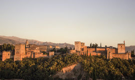 Alhambra of  Granada in the sunset Stock Photo