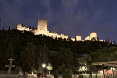 Alhambra,granada,unesco,andalucia,spain. Night view from the bottom of the complex Moorish Alhambra in granada Royalty Free Stock Photos