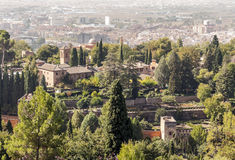 The Alhambra in Granada. A unesco monument. In the background the city is on a sunny day Royalty Free Stock Photography