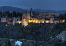 The Alhambra in Granda, Spain at dusk Royalty Free Stock Photo